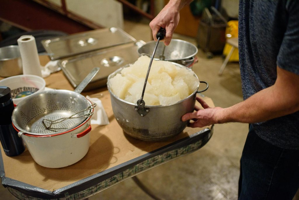 A full bowl of lutefisk ready to be boiled.