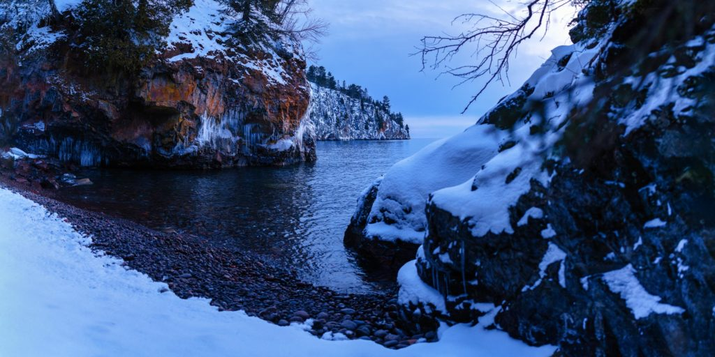 A look at Shovel Point from a hidden cove beach on Lake Superior in Tettegouche State Park.