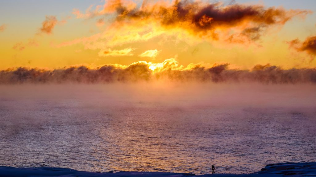 Gooseberry Falls State Park gives those daring enough to brave frigid temps, a chance to see sea smoke rising off of the chilly waters at sunrise.