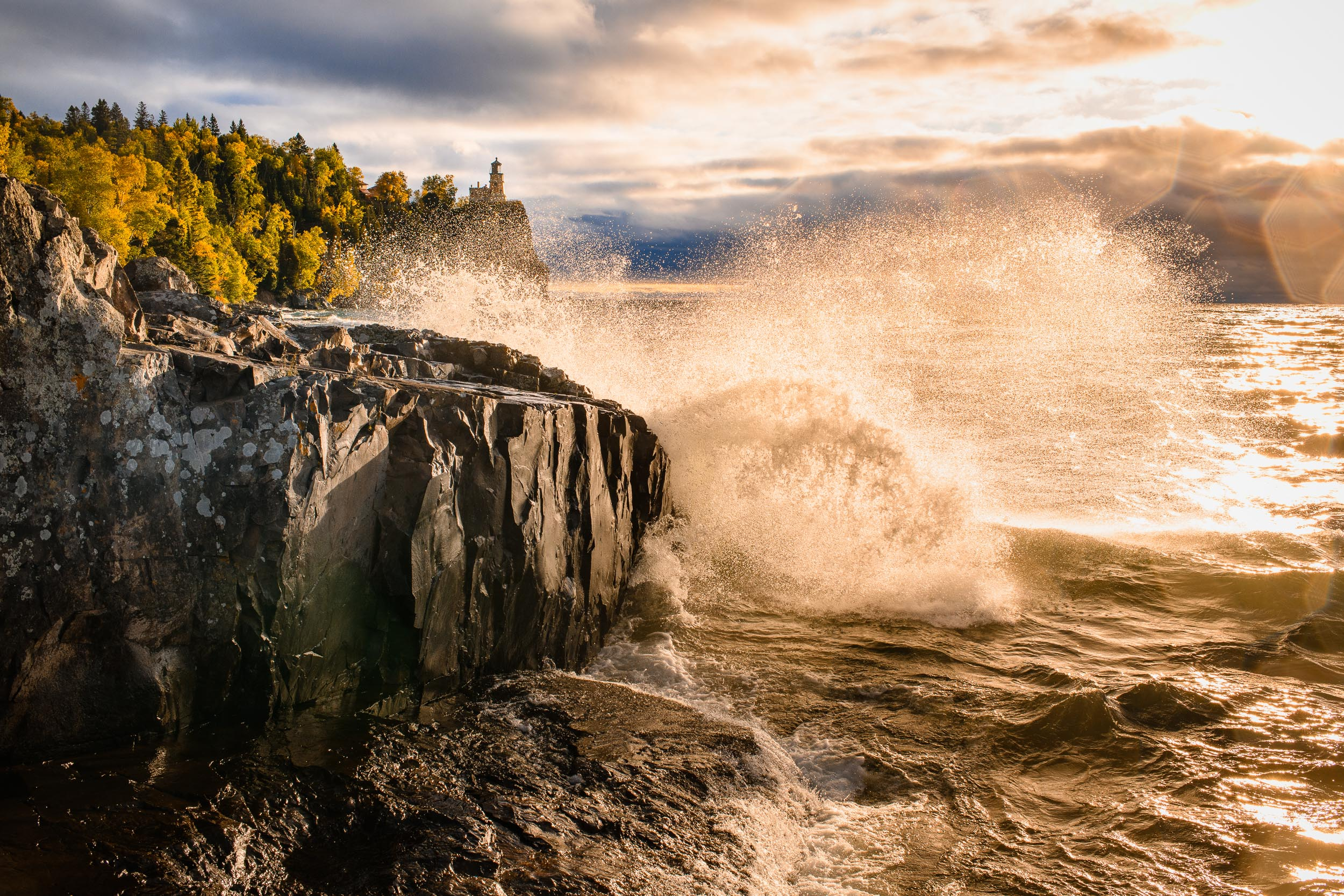 Waves crash in front of Split Rock Lighthouse on Lake Superior one fall day in Minnesota.