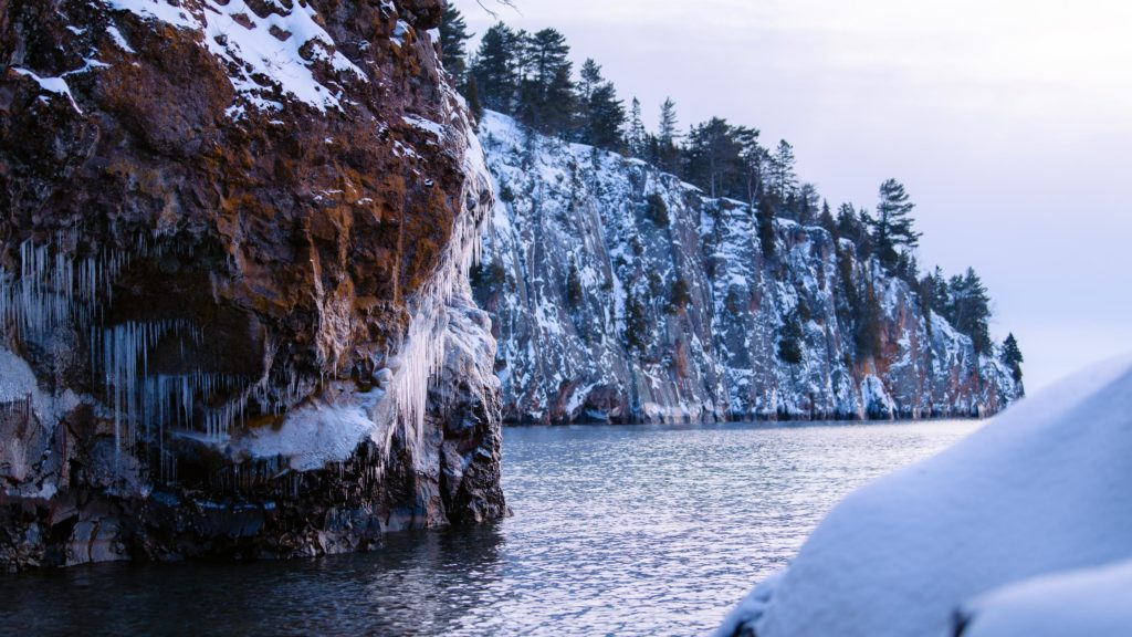 View from water's edge at Tettegouche State Park on Lake Superior for an almost sunrise.