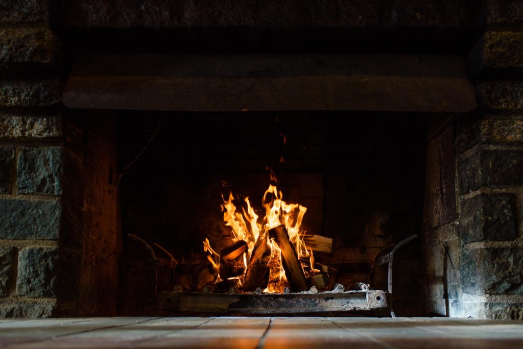 A fire roars in the River Inn Visitor Center.  A great spot to warm up and host activities.