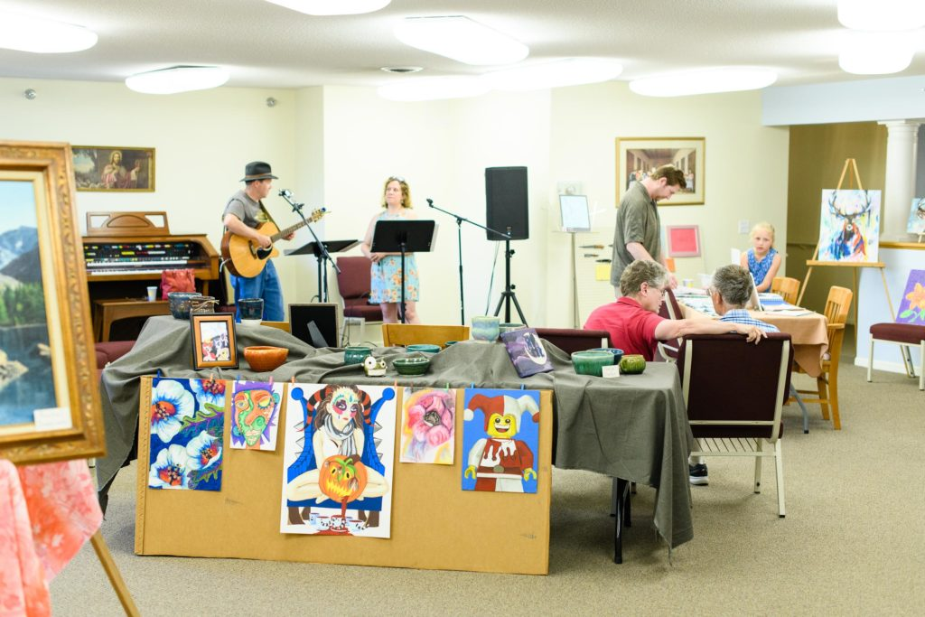 Kate and the Kavemen played a live set at Meadowfest in the nursing home to kick off the yearly art show.