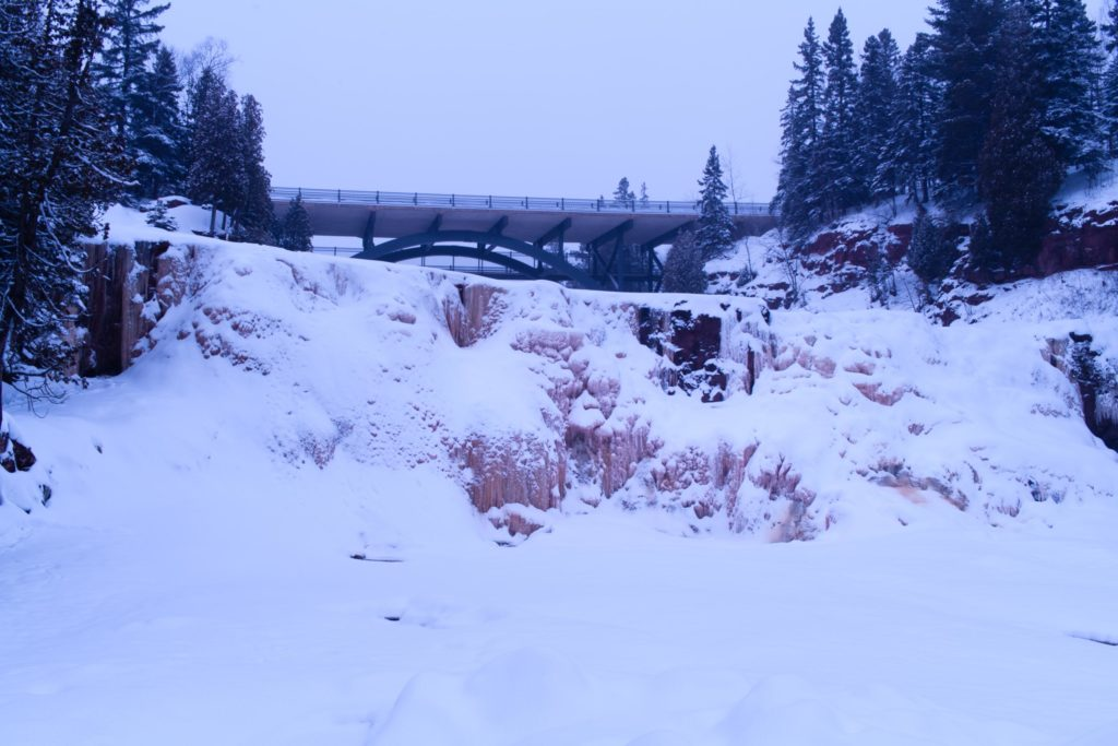 The waterfalls at Gooseberry Falls State Park were not very exciting when I came to visit this January.