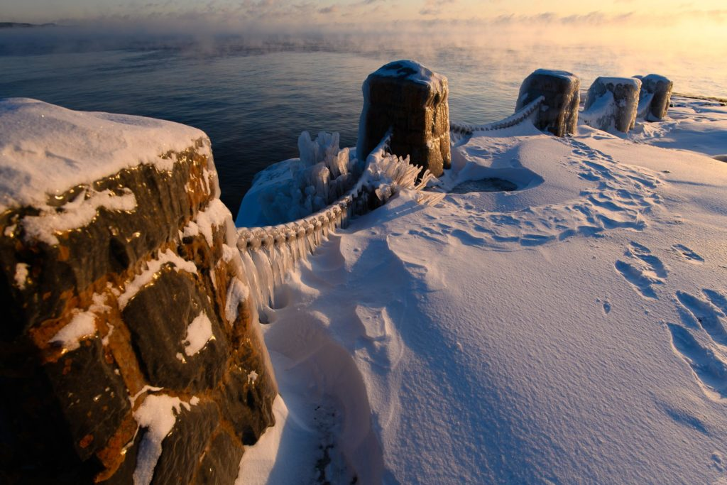 A scene from Gooseberry Falls State Park along Lake Superior by sunrise.