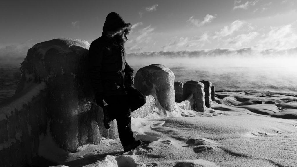 Trying to get an iconic self portrait at a recognizable spot in Gooseberry Falls State Park next to Lake Superior.