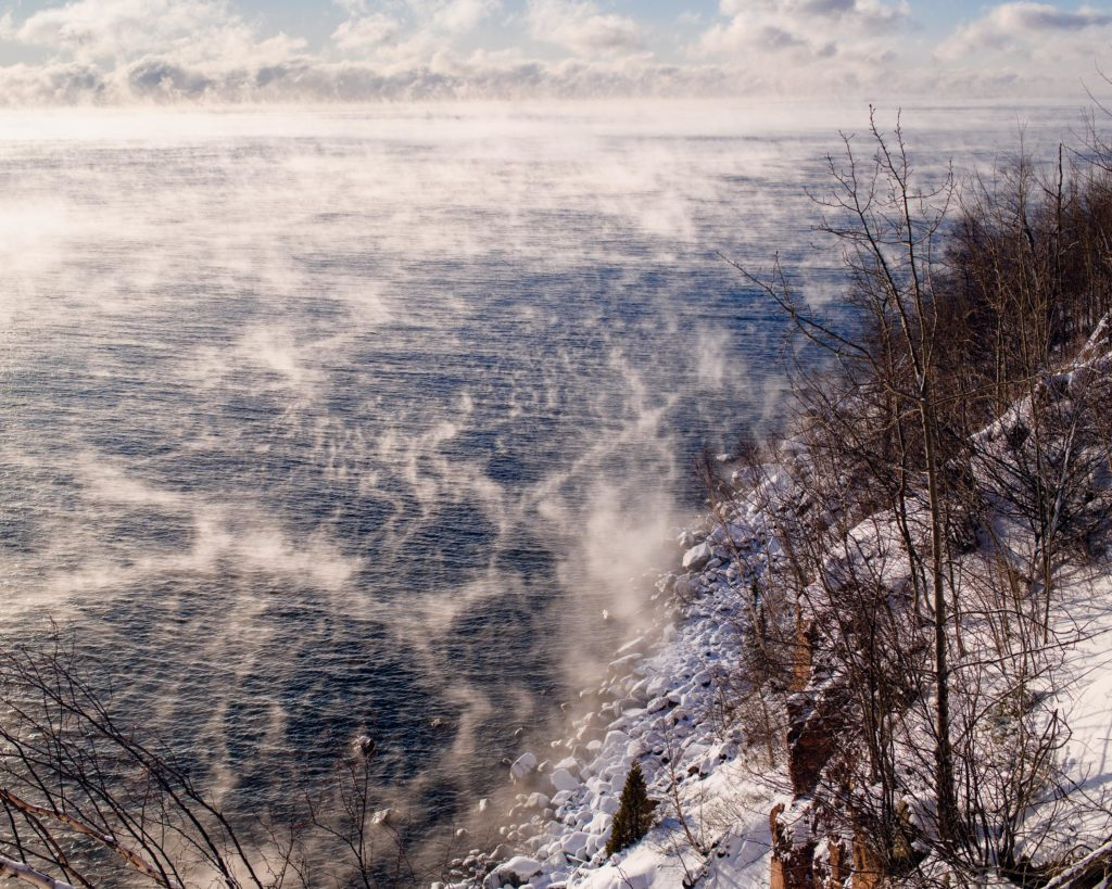 Sea smoke drifting and dancing over the waters of Lake Superior as the day warms up to almost 0˚F.