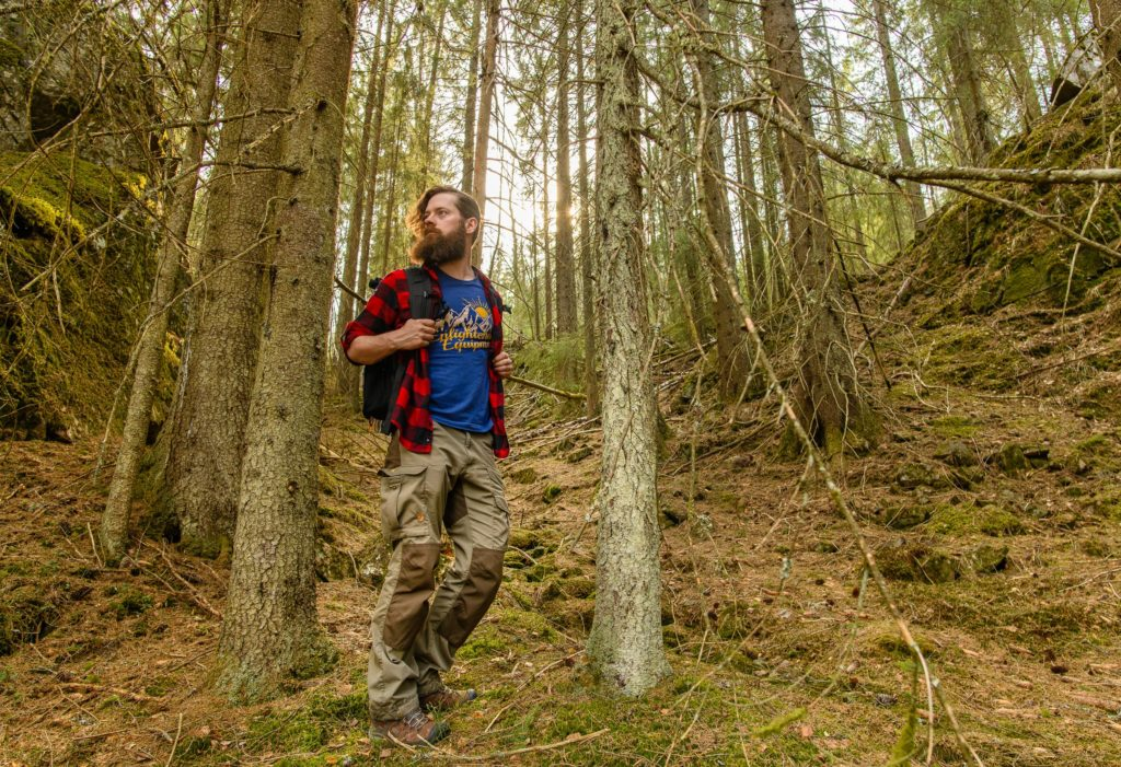 Wearing Keen Targhee boots and Fjalraven pants while hiking through the woods around Oslo, Norway.